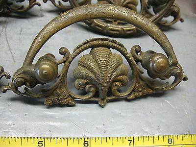 Antique   Nouveau   Drawer  Pulls  (4)   Cast  Brass   Orig. Complete  V Nice 2