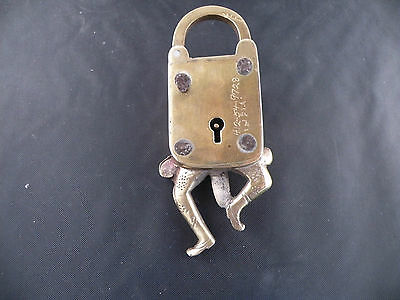 Vintage dancing man shaped large brass lock from India, very ornate 3