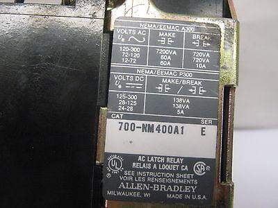 ALLEN-BRADLEY AC LATCH RELAY BULLETIN 700-NM400A1  E  120V  60Hz  110V  50Hz   9