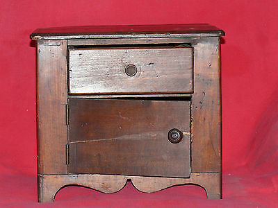 ANTIQUE 19th C. CHILD's TOY DOLL SIZED PINE WOOD WASH STAND COMMODE CABINET