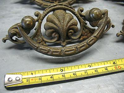 Antique   Nouveau   Drawer  Pulls  (4)   Cast  Brass   Orig. Complete  V Nice 3