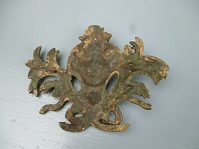 Pair Antique Gilt Bronze Furniture Mounts - Ormolu Victorian Hardware #1 VR 7