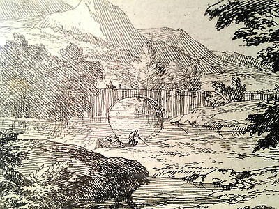 Abraham Genoels Engraving of Landscape Bridge Boat Framed and Matted 7