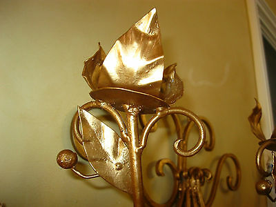 Vintage French Gold Wrought Iron WALL SCONCE Candelabra Candle Holder ChicShabby 8