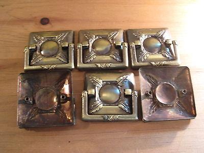 Set of SIX Midcentury Drawer Handles Brass Finish Architectural Design Element 2