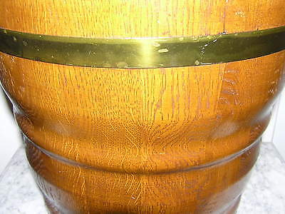 Large Antique Flower Pot From Oak Wood With Brass Hoops. 4