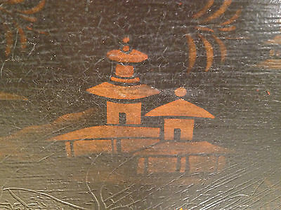 Vintage Reproduction Black and Gold Painted Japanese Tray Hiliu W B J... noff 3