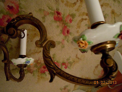 French Porcelain BARBOLA ROSES & SWAGS Chandelier with Hanging Rose Bouquets 6