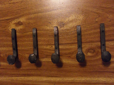 5 Antique Coat Hooks Old Railroad Spikes Wrought Iron Style Heavy Duty Shop Set