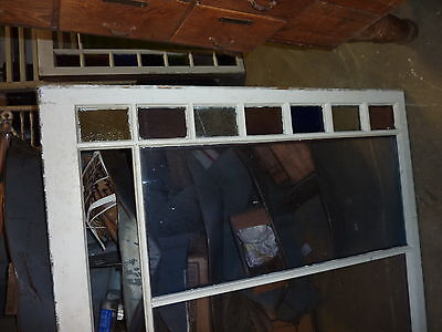 """LARGE QUEEN ANNE 19th century STAIN glass window frame sash 49.5 x 51 x 1.75"""" #2 4"""