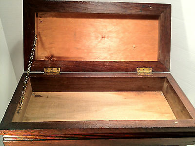 Antique Victorian Oak Sewing Stool w/ Hinged Lid - Cushioned Red Top 8