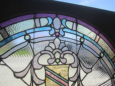 ~ Antique American Stained Glass Window ~ 17 Jewels ~ Architectural Salvage ~ 4
