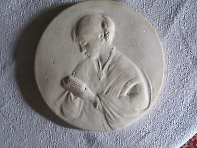 Antique Vintage Round Chalkware Plaster Wall Hanging, TASHA TUDOR? Young Woman 2