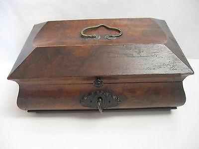 Rare Antique Civil War / Empire Period Jewelry Document Box-Gutta Percha-Burl 10