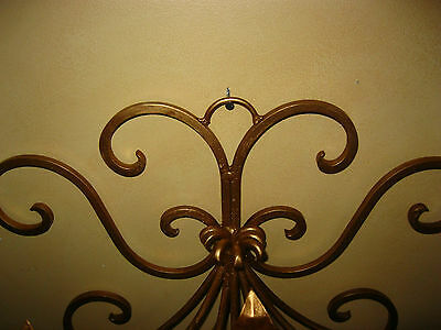 Vintage French Gold Wrought Iron WALL SCONCE Candelabra Candle Holder ChicShabby 4