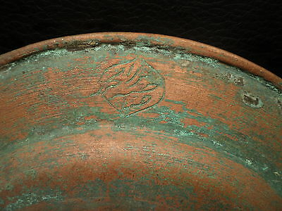 1700's Antique  Islamic Ottoman  Copper Plate, Hammered, Engraved, Signed 3