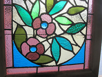 ~ Gorgeous Antique American Stained Glass Windows Floral ~ Architectural Salvage 4