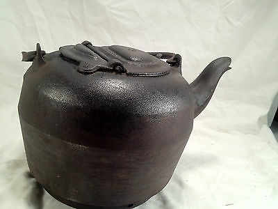 Antique Cast Iron Leibrandt Dowell Kettle Teapot with Handle  Made Philadel PA 9