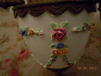 French Porcelain BARBOLA ROSES & SWAGS Chandelier with Hanging Rose Bouquets 9