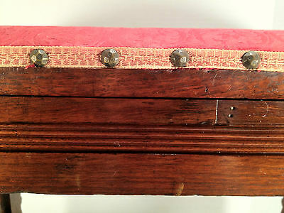 Antique Victorian Oak Sewing Stool w/ Hinged Lid - Cushioned Red Top 2