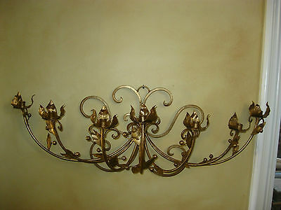 Vintage French Gold Wrought Iron WALL SCONCE Candelabra Candle Holder ChicShabby 2