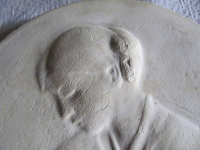 Antique Vintage Round Chalkware Plaster Wall Hanging, TASHA TUDOR? Young Woman 3
