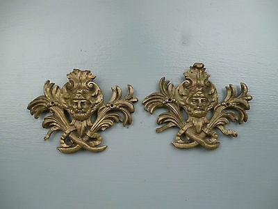 Pair Antique Gilt Bronze Furniture Mounts - Ormolu Victorian Hardware #1 VR 3