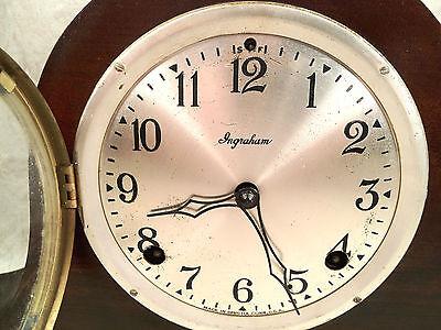 Antique Ingraham Mantel Clock Mahogany Case Runs and Strikes 4