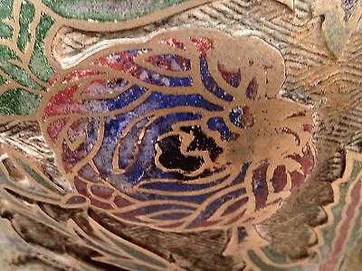 Antique Japanese Bronze Champleve Enamel Vase 7
