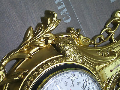 Wall clock Swan in Gold with Thermometer Antique look 38x65cm BAROQUE 12