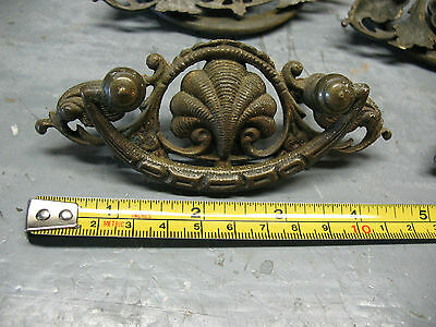 Antique   Nouveau   Drawer  Pulls  (4)   Cast  Brass   Orig. Complete  V Nice 4