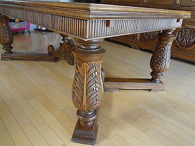 Renaissance Revival Dining Room Set Hand Carved European Antique