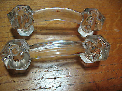 Victorian  Clear  Glass  Pulls (2)  Original  Beautiful  Excellent 2