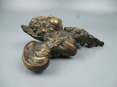 2 19th Century or Earlier Heavy Bronze Furniture Mounts Cherub Wings Angel BR 3 • CAD $1,594.69