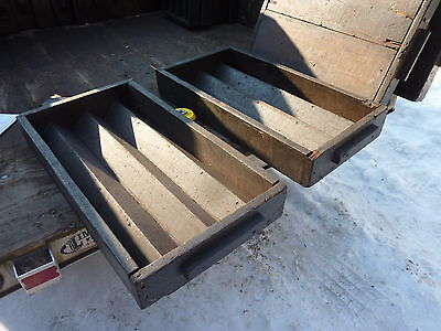 """salvaged ANTIQUE WOODEN warehouse factory box tray GREAT decor storage 27 X 14"""" 3"""