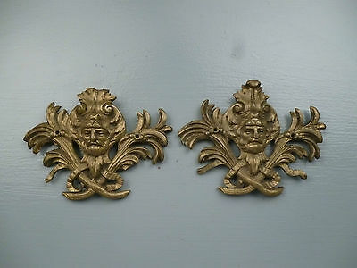 Pair Antique Gilt Bronze Furniture Mounts - Ormolu Victorian Hardware #1 VR 2