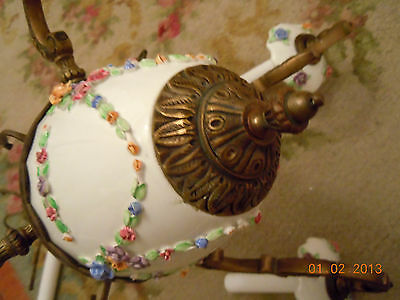 French Porcelain BARBOLA ROSES & SWAGS Chandelier with Hanging Rose Bouquets
