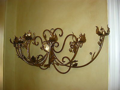 Vintage French Gold Wrought Iron WALL SCONCE Candelabra Candle Holder ChicShabby 9