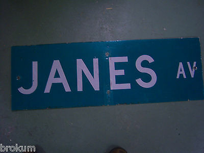 "Unusual 2 Side Salt St / Janes Av Street Sign 36"" X 12"" White Lettering On Green 2"