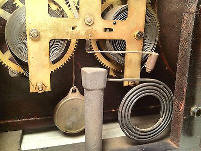 Antique Ingraham Mantel Clock Mahogany Case Runs and Strikes 6