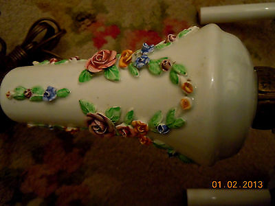 French Porcelain BARBOLA ROSES & SWAGS Chandelier with Hanging Rose Bouquets 7