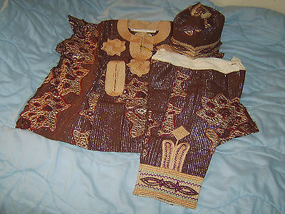 African costume boys' tunic, trousers, hat - from Nigeria 1990s almost vintage 3