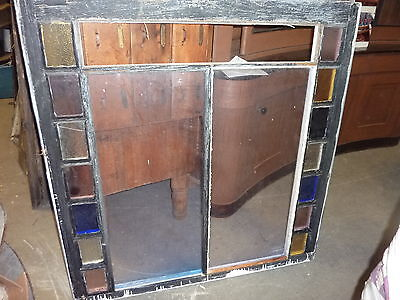 "LARGE QUEEN ANNE 19th century STAIN glass window frame sash 49.5 x 51 x 1.75"" #2 6"