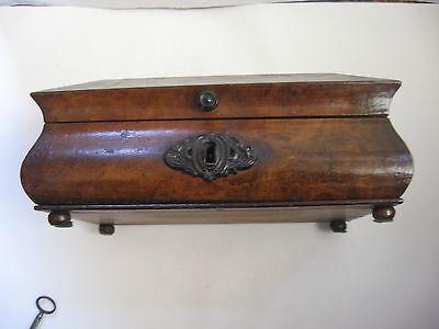 Rare Antique Civil War / Empire Period Jewelry Document Box-Gutta Percha-Burl 8
