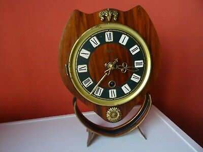 OLD WINTAGE  RETRO CLOCK Mid Century Orfac Pendulum Metal Table Mantle Clock 2