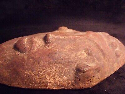 "Antique Pre-Columbian 9 1/4"" Pottery Face Mask 12"