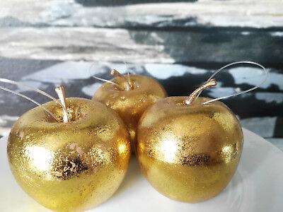 Hängen 3 Äpfel Gold Glanz 6.5cm Atrappen Dekoration Kunstobst Dekofrüchte 4