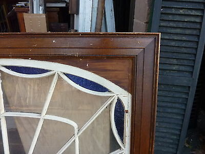 """HUGE gable END stain GLASS arched WINDOW oak FRAME spiderweb design 63 x 43"""" 7"""