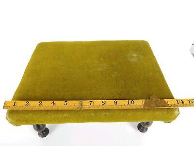 Antique 1800's Victorian Green Velvet Wooden Footstool 7
