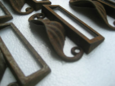 c1880 SET of 12 matching authentic VICTORIAN cabinet pull hardware 3.5 on holes 5